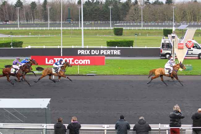 Photo d'arrivée de la course pmu PRIX DU PERTRE à PARIS-VINCENNES le Jeudi 4 janvier 2018