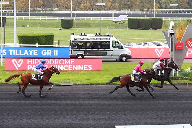 Photo d'arrivée de la course pmu PRIX LOUIS TILLAYE à PARIS-VINCENNES le Samedi 9 novembre 2019
