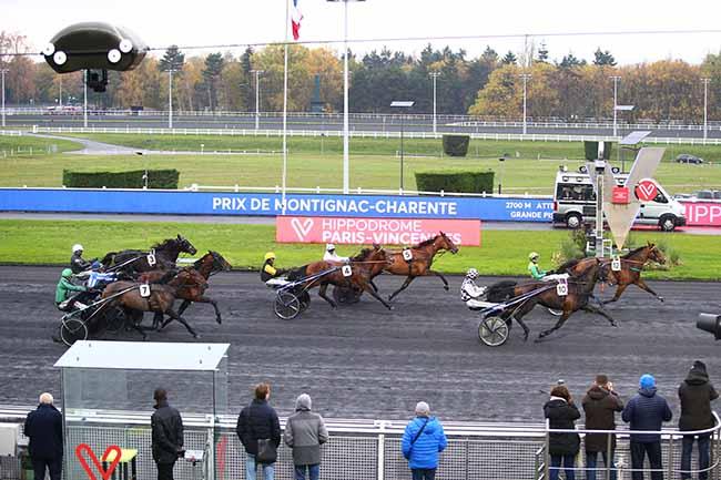 Photo d'arrivée de la course pmu PRIX DE MONTIGNAC-CHARENTE à PARIS-VINCENNES le Lundi 18 novembre 2019