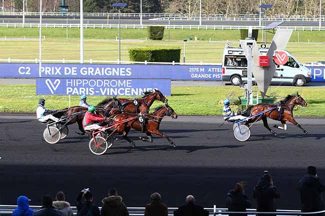 Photo d'arrivée de la course pmu PRIX DE GRAIGNES à PARIS-VINCENNES le Lundi 17 février 2020
