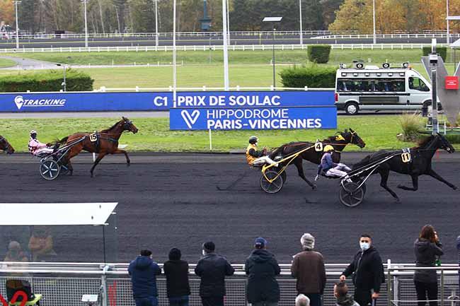 Photo d'arrivée de la course pmu PRIX DE SOULAC à PARIS-VINCENNES le Mercredi 28 octobre 2020