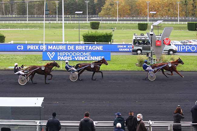 Photo d'arrivée de la course pmu PRIX DE MAURE-DE-BRETAGNE à PARIS-VINCENNES le Mercredi 28 octobre 2020