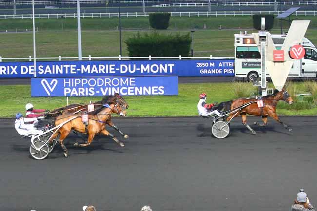 Photo d'arrivée de la course pmu PRIX DE SAINTE-MARIE-DU-MONT à PARIS-VINCENNES le Lundi 4 janvier 2021