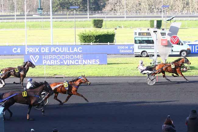 Photo d'arrivée de la course pmu PRIX DE POUILLAC à PARIS-VINCENNES le Jeudi 4 février 2021