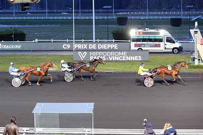 Photo d'arrivée de la course pmu PRIX DE DIEPPE à PARIS-VINCENNES le Dimanche 14 février 2021