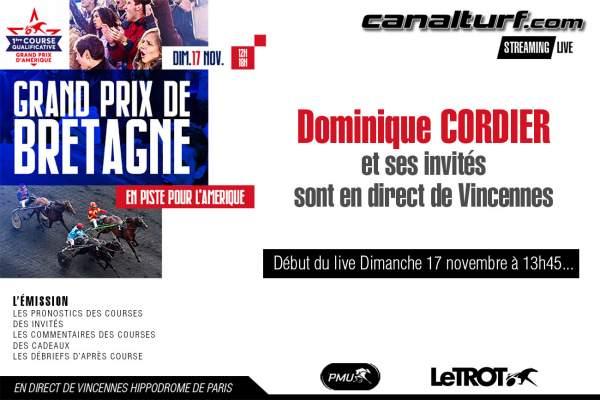 La photo de Emission Spéciale Pronostics Grand Prix De Bretagne 2019 en direct live de Vincennes avec Dominique Cordier