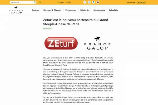 La photo de Zeturf Partenaire Du Grand Steeple-chase De Paris